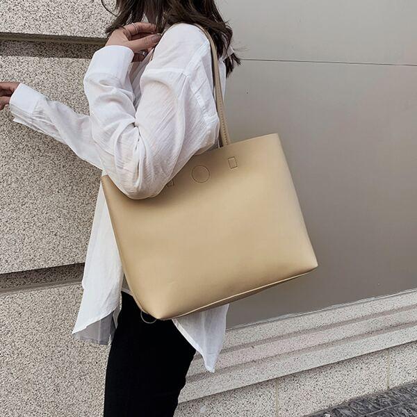 Minimalist Tote Bag, Apricot