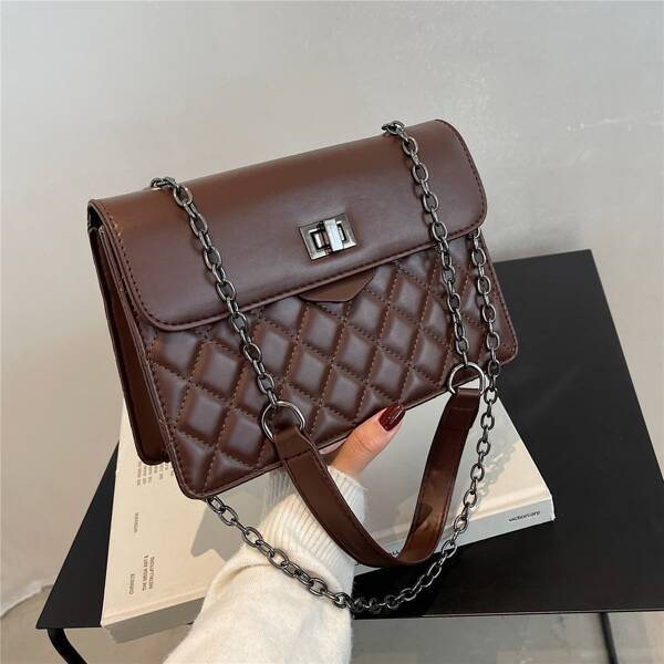 Quilted Twist Lock Chain Square Bag, Coffee brown