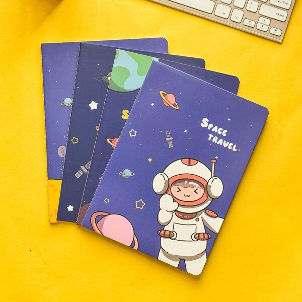 1pc Astronaut Print Random Notebook, Multicolor