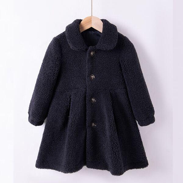Toddler Girls Peter Pan Collar Fold Pleated Teddy Coat, Black