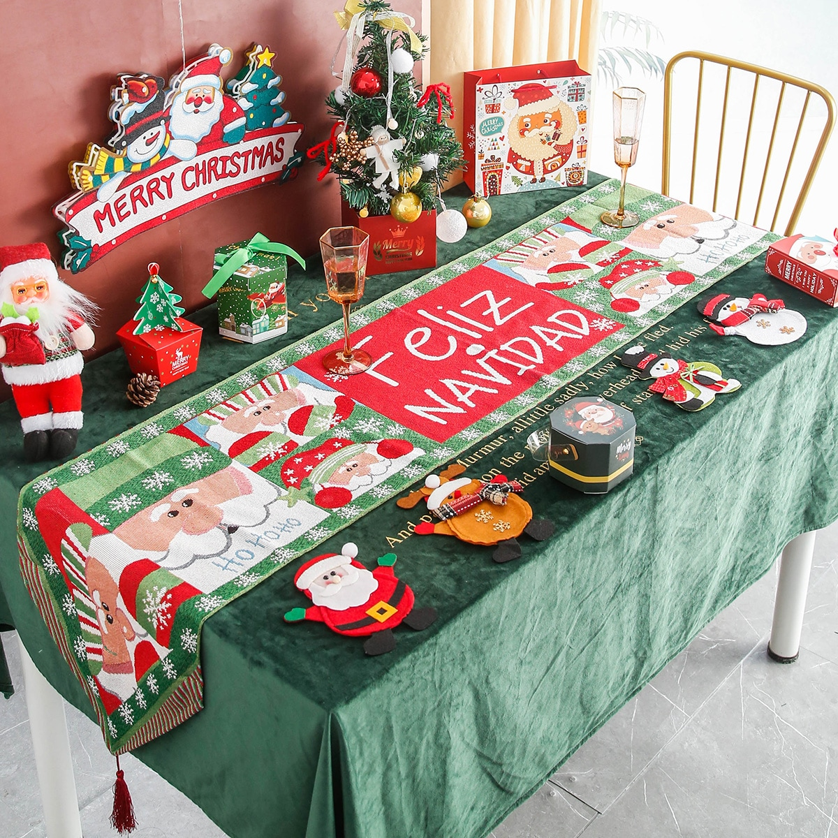 1 pieza Camino de mesa Papá Noel con estampado