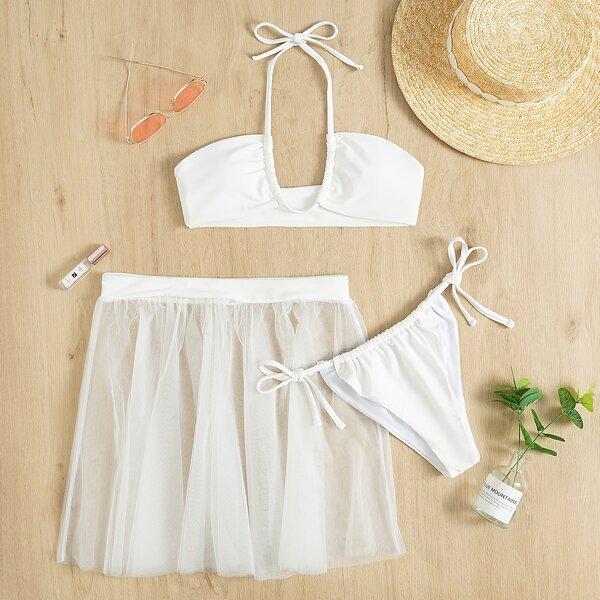 3pack Halter Tie Side Bikini Swimsuit With Mesh Skirt, White