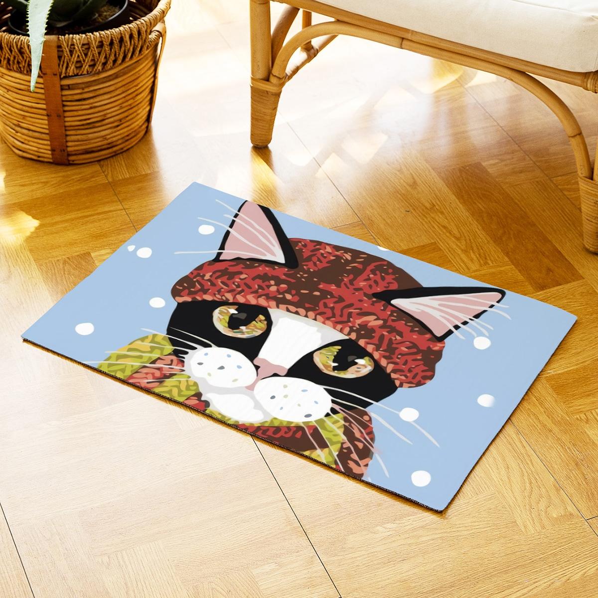 Дверной коврик с принтом кошки