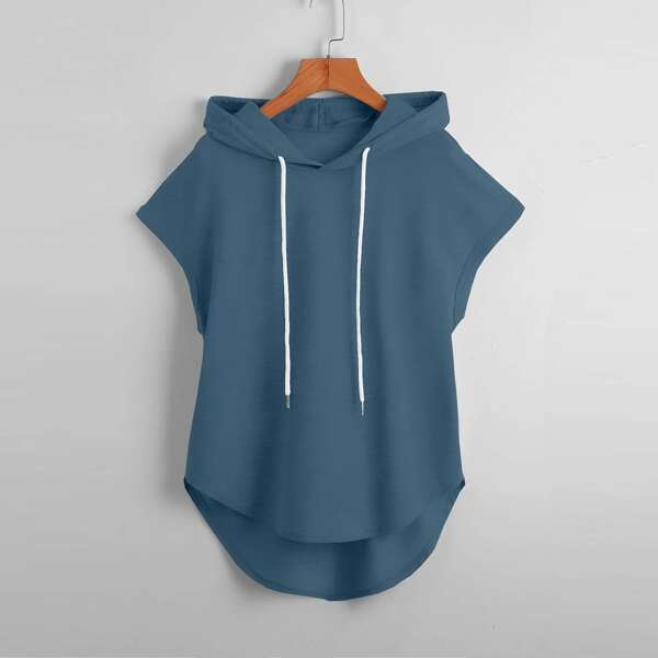 Solid Drawstring Sleeveless Hooded Tee, Dusty blue
