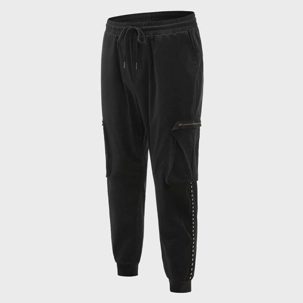 Men Studded Detail Zip Pocket Drawstring Waist Joggers, Black