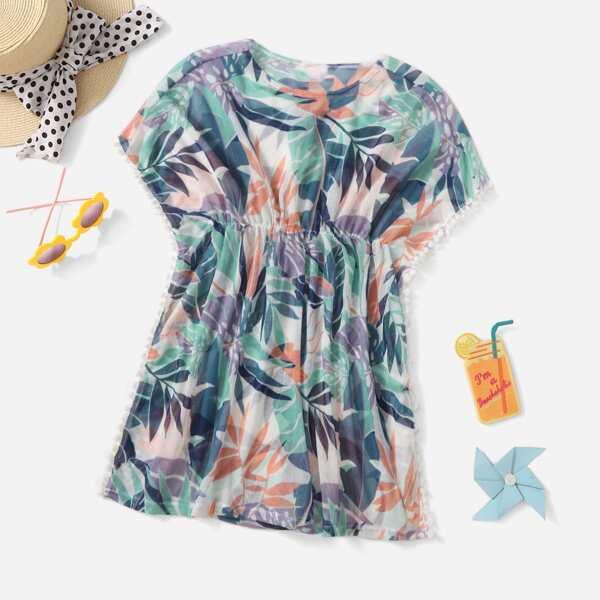 Girls Tropical Print Pom-pom Trim Kimono, Multicolor