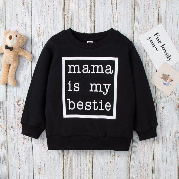Toddler Girls Slogan Print Round Neck Sweatshirt, Black