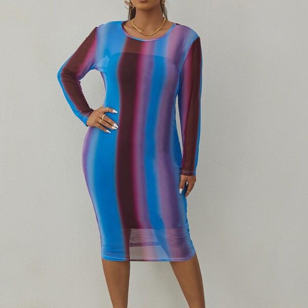 Plus Vertical Stripe Bodycon Dress, Multicolor