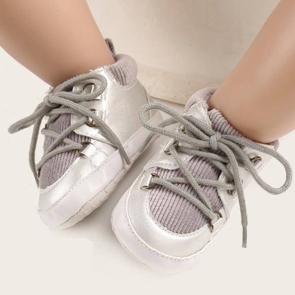 Baby Two Tone High Top Skate Shoes, Silver