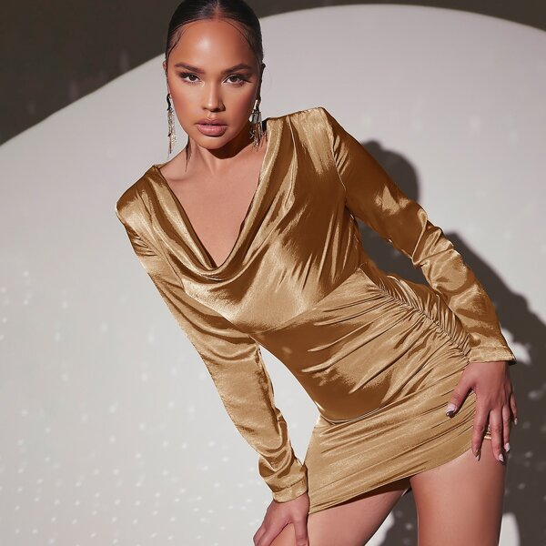 Draped Collar Asymmetrical Hem Ruched Bodycon Dress, Gold