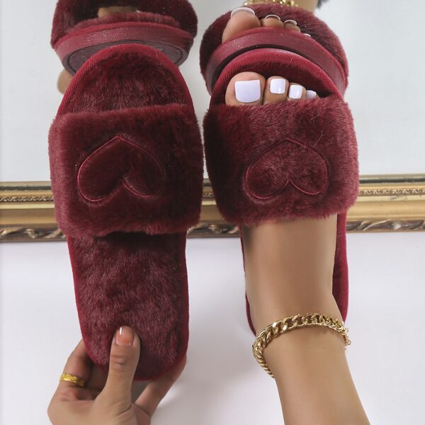 Heart Pattern Fuzzy Slippers, Burgundy