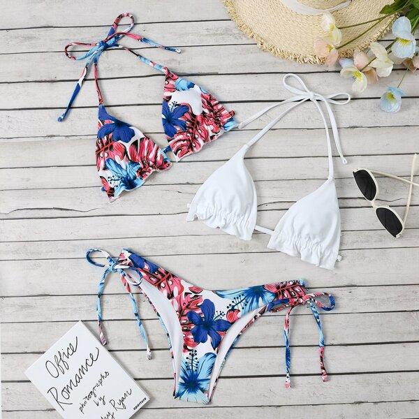 3pack Tropical Print Halter Bikini Swimsuit & Plain Bikini Top, Multicolor