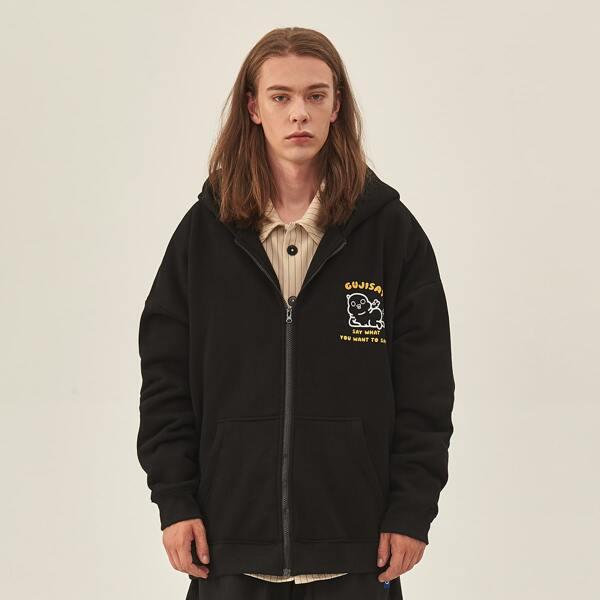Men Letter & Cartoon Pattern Kangaroo Pocket Hooded Sweatshirt, Black