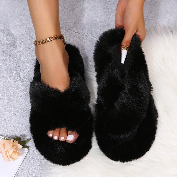 Fuzzy Crossover Strap Slippers, Black