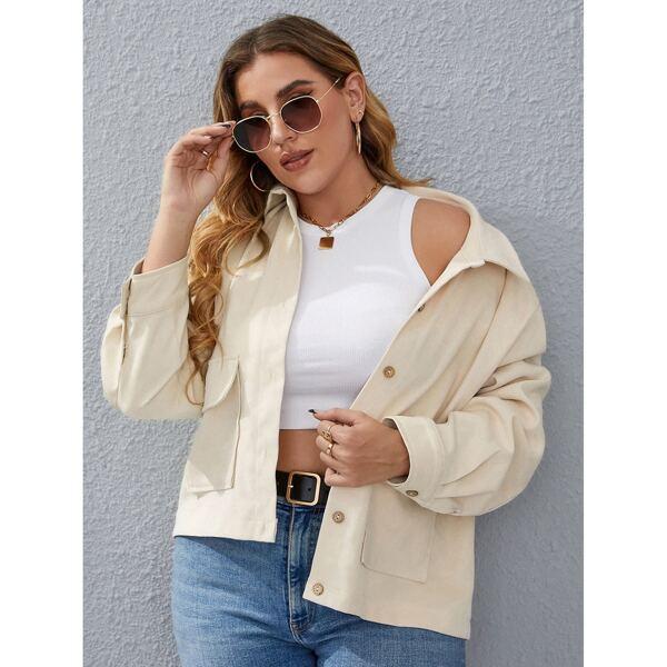 Plus Solid Flap Pockets Button Through Jacket, Beige