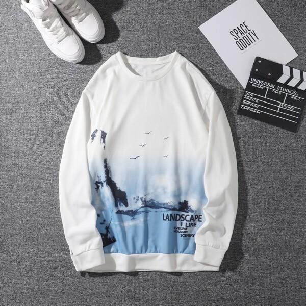 Men Slogan & Landscape Print Pullover, Blue and white