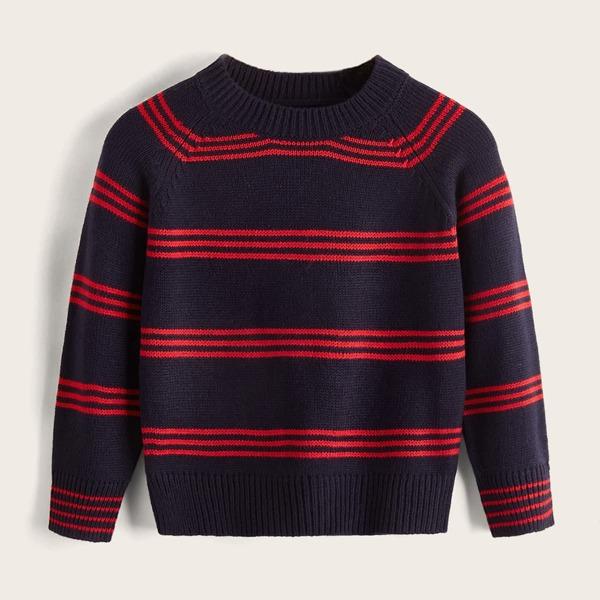Toddler Boys Striped Pattern Raglan Sleeve Sweater, Royal blue