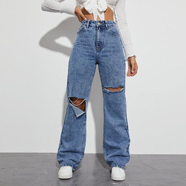 High Waist Ripped Boyfriend Leg Jeans, Medium wash