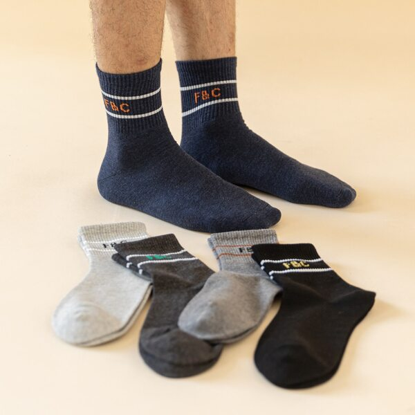 5pairs Men Letter Pattern Socks, Multicolor