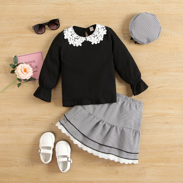 Toddler Girls Guipure Lace Panel Flounce Sleeve Top & Gingham Ruffle Hem Skirt, Black and white