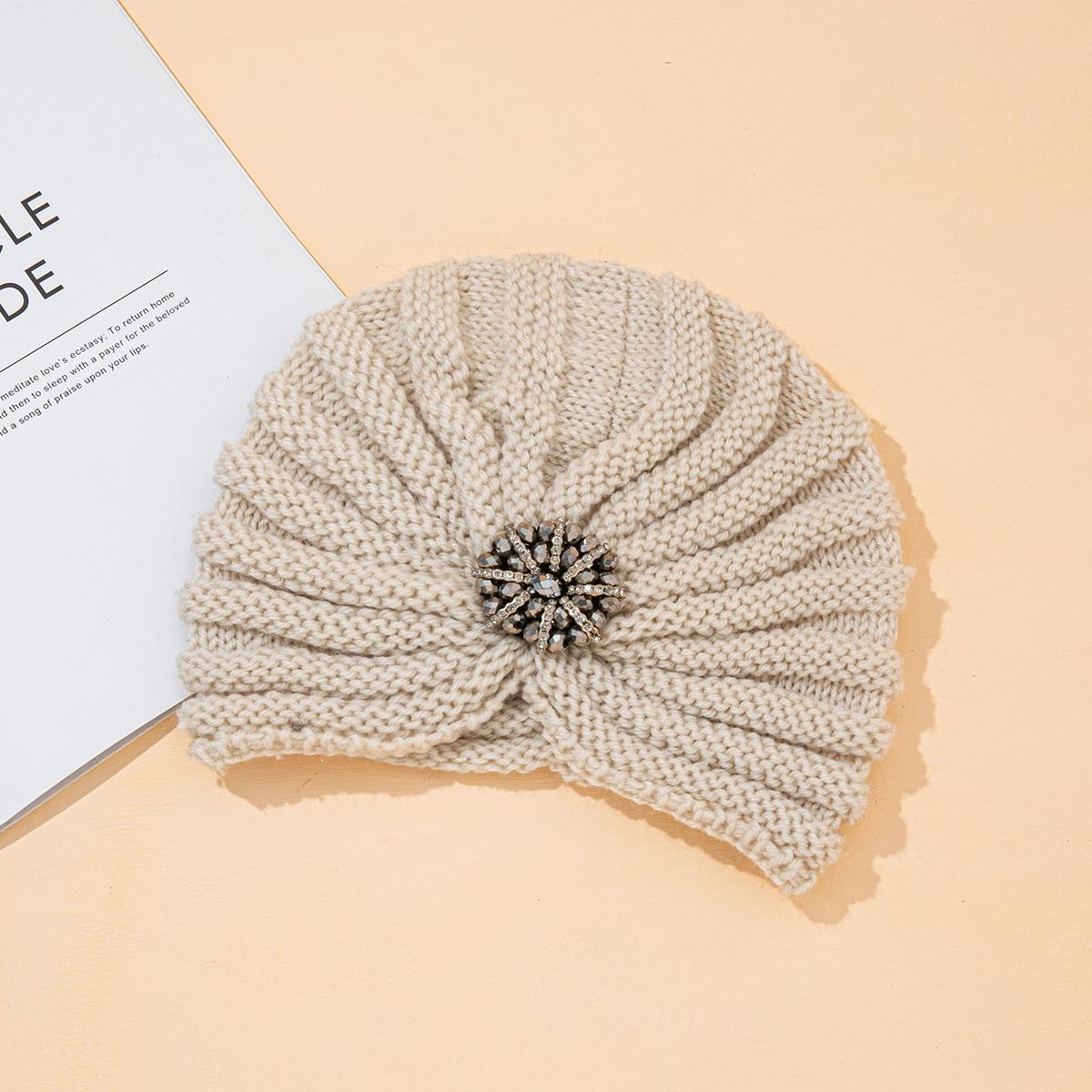 Rhinestone Decor Knit Head Wrap