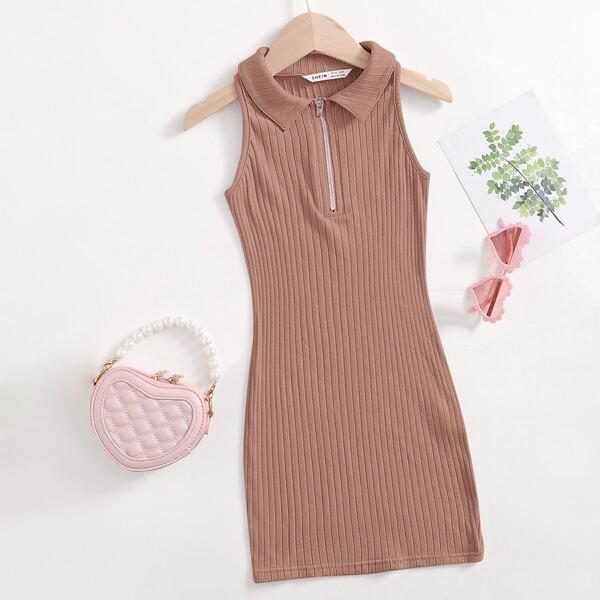 Girls Zip Half Placket Rib Knit Dress, Dusty pink