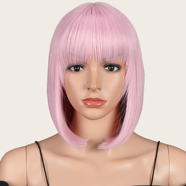 Short Straight Synthetic Wig With Bangs, Pink