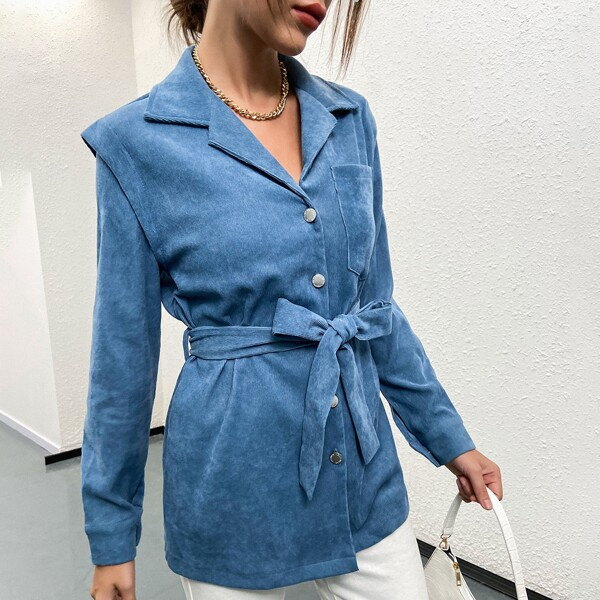Solid Button Through Belted Corduroy Coat, Blue