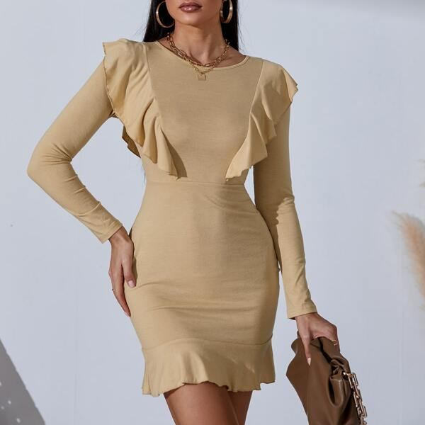 Solid Ruffle Trim Fitted Dress, Apricot