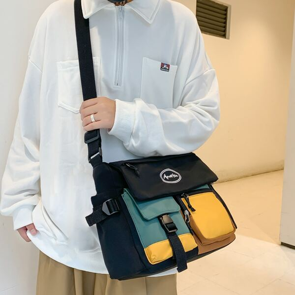 Men Colorblock Letter Graphic Release Buckle Decor Crossbody Bag, Multicolor
