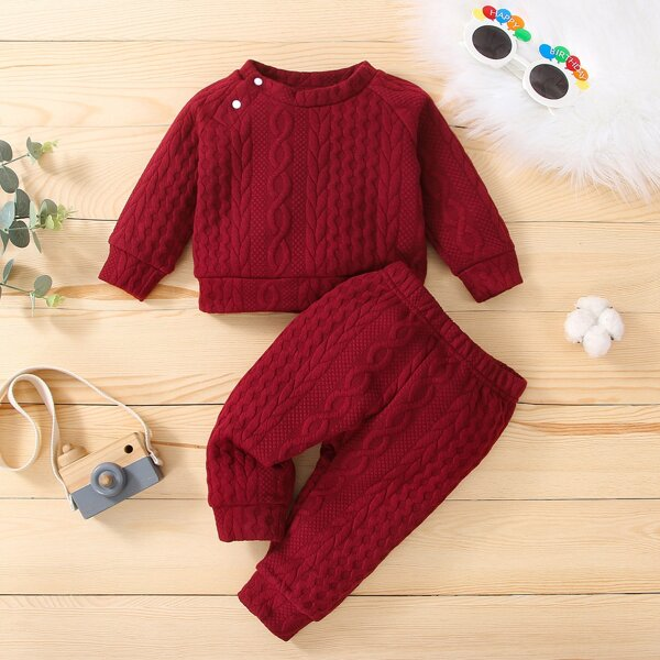 Baby Unisex Cable Texture Sweatshirt With Sweatpants, Burgundy