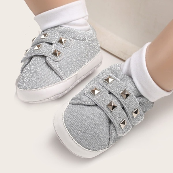 Baby Girl Studded Decor Velcro Strap Flats, Grey