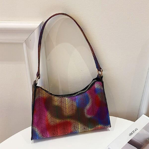 Holographic Baguette Bag, Multicolor