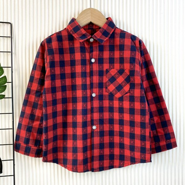 Toddler Boys Gingham Pattern Button Front Pocket Patched Shirt, Multicolor