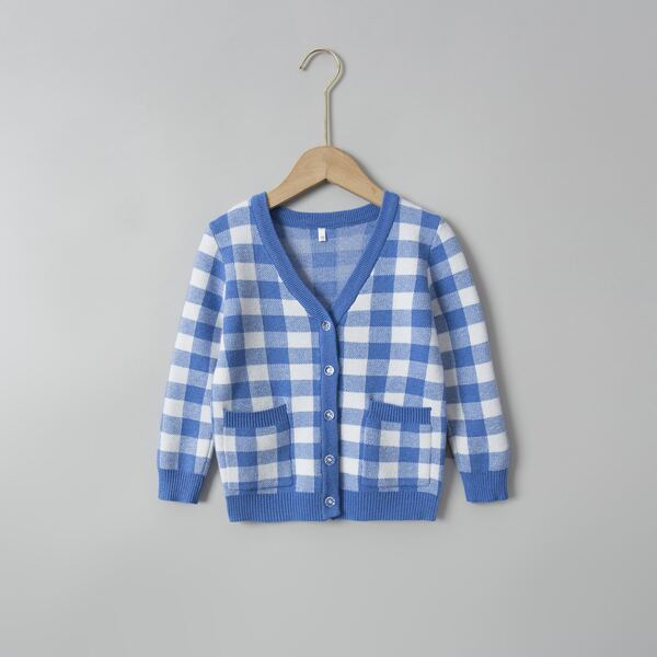 Toddler Girls Gingham Pattern Pocket Patched Cardigan, Blue and white
