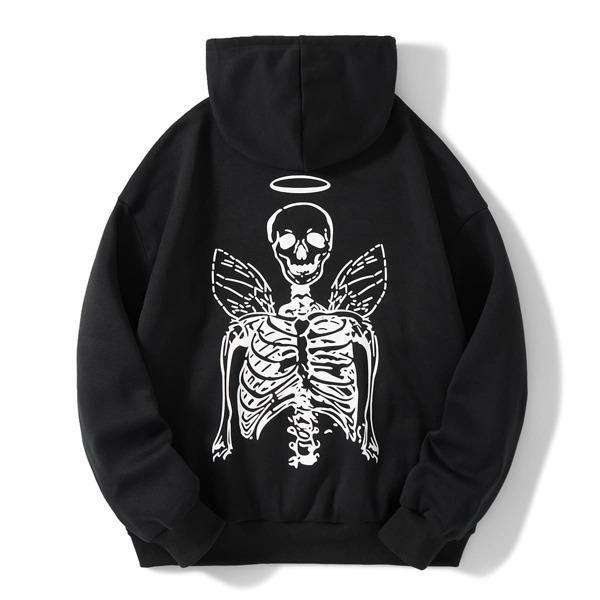 Skeleton Print Drawstring Hooded Sweatshirt, Black