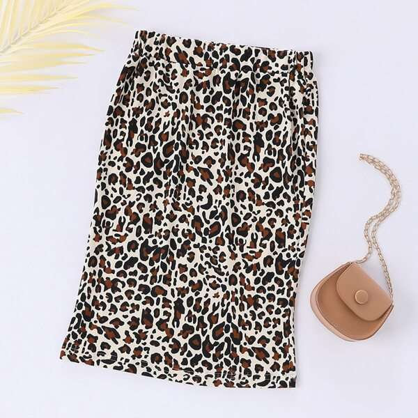 Girls Leopard Bodycon Skirt, Multicolor