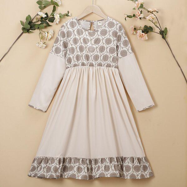 Girls Floral Print Ruffle Hem Dress, Apricot