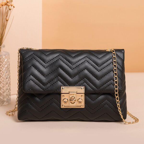 Minimalist Chevron Flap Square Bag, Black