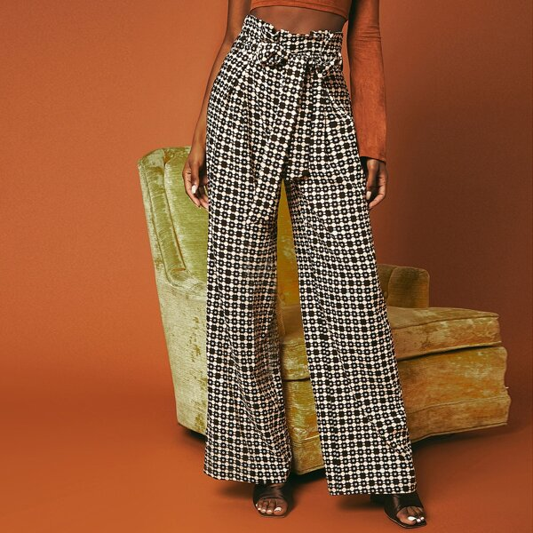 Geo Print Paperbag Waist Belted Wide Leg Pants, Multicolor
