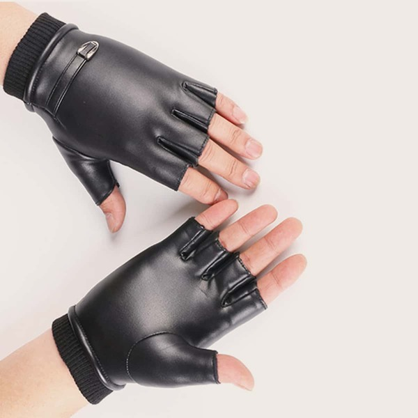 1pair Solid Half-finger Cycling Gloves, Black