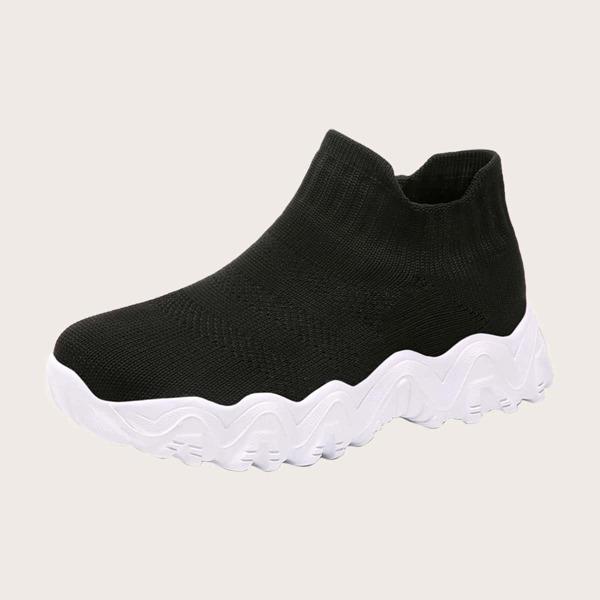 Girls Minimalist Breathable Sock Sneakers, Black