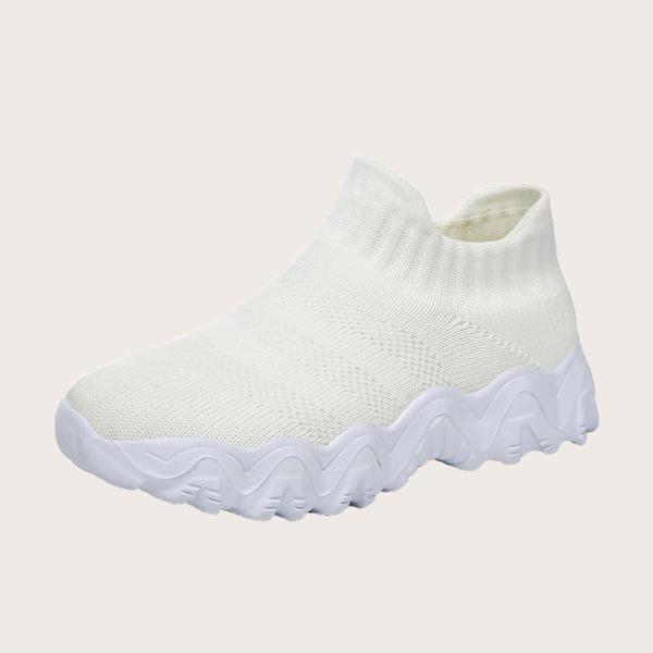 Girls Minimalist Breathable Sock Sneakers, White