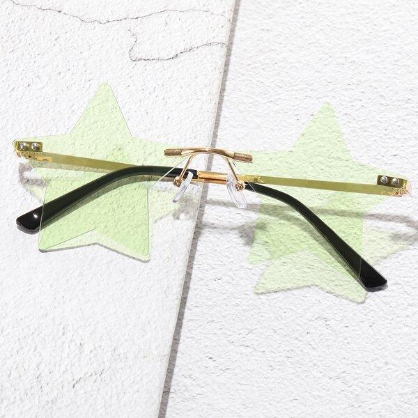 Men Star Design Rimless Sunglasses, Green