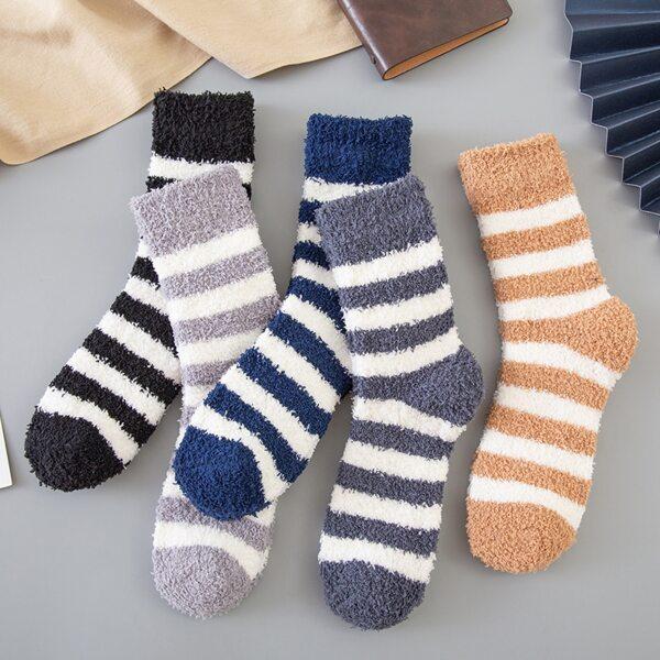 5pairs Men Striped Pattern Socks, Multicolor
