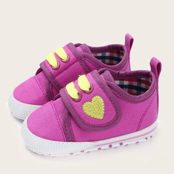 Baby Embroidery Decor Velcro Strap Flats, Purple