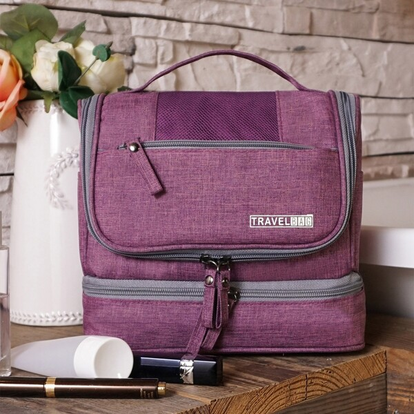 1pc Portable Toiletry Travel Bag, Purple