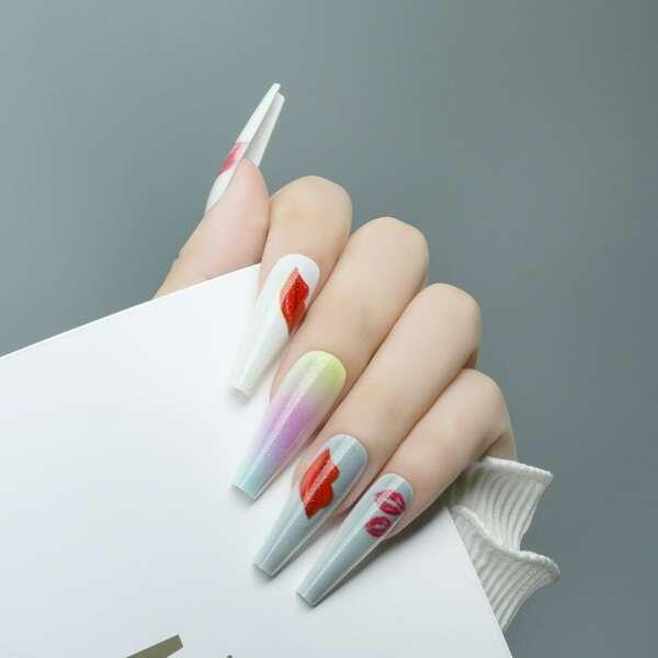 24pcs Lip Pattern Fake Nail & 1pc Tape & 1pc Nail File, Multicolor