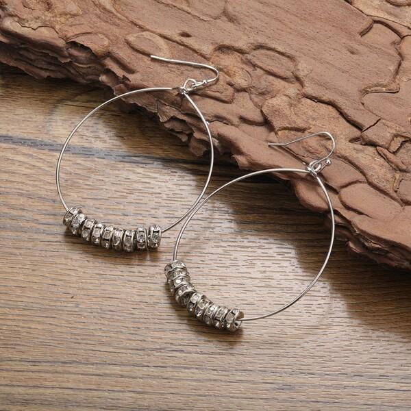 Rhinestone Detail Hoop Earrings, Silver