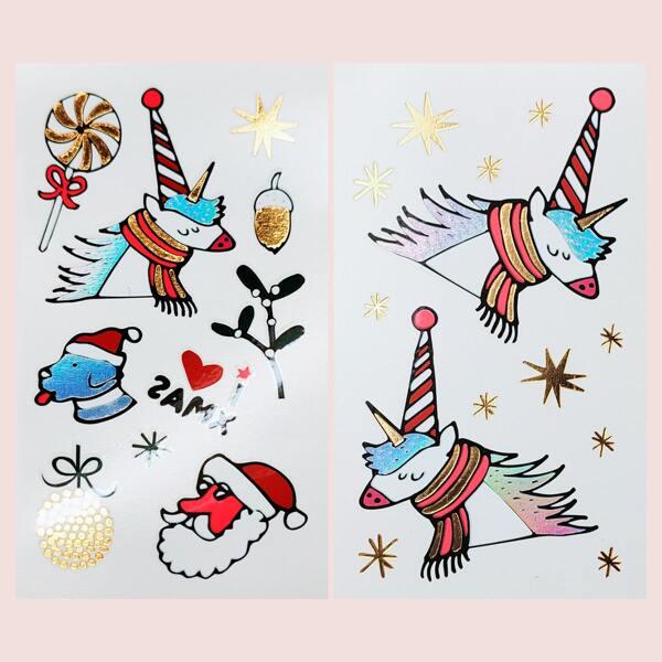 2sheets Christmas Cartoon Graphic Tattoo Sticker, Multicolor